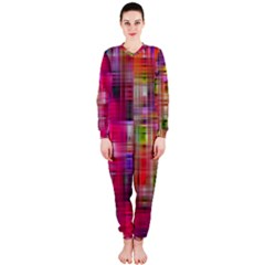 Background Abstract Weave Of Tightly Woven Colors Onepiece Jumpsuit (ladies)