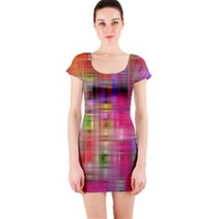 Background Abstract Weave Of Tightly Woven Colors Short Sleeve Bodycon Dress