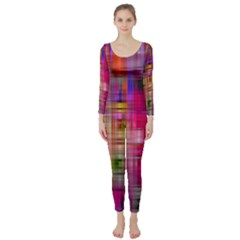 Background Abstract Weave Of Tightly Woven Colors Long Sleeve Catsuit