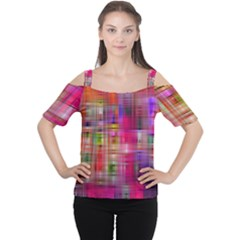 Background Abstract Weave Of Tightly Woven Colors Women s Cutout Shoulder Tee