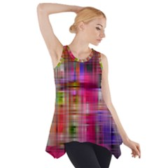 Background Abstract Weave Of Tightly Woven Colors Side Drop Tank Tunic