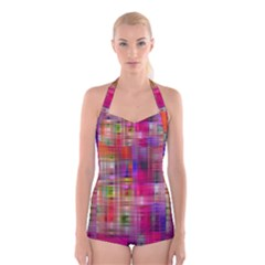 Background Abstract Weave Of Tightly Woven Colors Boyleg Halter Swimsuit