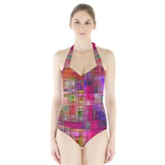 Background Abstract Weave Of Tightly Woven Colors Halter Swimsuit