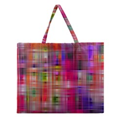 Background Abstract Weave Of Tightly Woven Colors Zipper Large Tote Bag