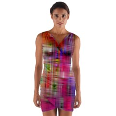 Background Abstract Weave Of Tightly Woven Colors Wrap Front Bodycon Dress