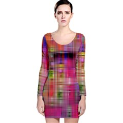 Background Abstract Weave Of Tightly Woven Colors Long Sleeve Velvet Bodycon Dress