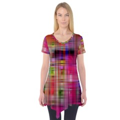 Background Abstract Weave Of Tightly Woven Colors Short Sleeve Tunic