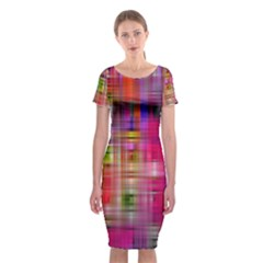 Background Abstract Weave Of Tightly Woven Colors Classic Short Sleeve Midi Dress