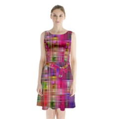 Background Abstract Weave Of Tightly Woven Colors Sleeveless Chiffon Waist Tie Dress