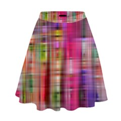 Background Abstract Weave Of Tightly Woven Colors High Waist Skirt