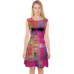 Background Abstract Weave Of Tightly Woven Colors Capsleeve Midi Dress