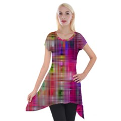 Background Abstract Weave Of Tightly Woven Colors Short Sleeve Side Drop Tunic