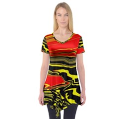 Abstract Clutter Short Sleeve Tunic