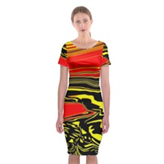 Abstract Clutter Classic Short Sleeve Midi Dress