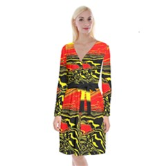 Abstract Clutter Long Sleeve Velvet Front Wrap Dress