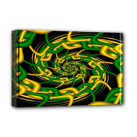 Green Yellow Fractal Vortex In 3d Glass Deluxe Canvas 18  X 12