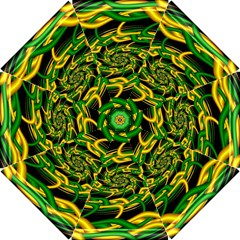 Green Yellow Fractal Vortex In 3d Glass Hook Handle Umbrellas (Small)