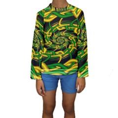 Green Yellow Fractal Vortex In 3d Glass Kids  Long Sleeve Swimwear