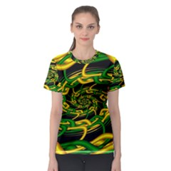 Green Yellow Fractal Vortex In 3d Glass Women s Sport Mesh Tee