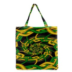 Green Yellow Fractal Vortex In 3d Glass Grocery Tote Bag