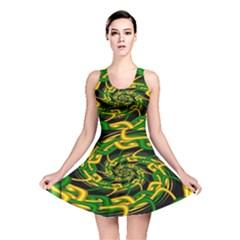 Green Yellow Fractal Vortex In 3d Glass Reversible Skater Dress