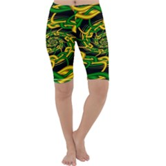 Green Yellow Fractal Vortex In 3d Glass Cropped Leggings