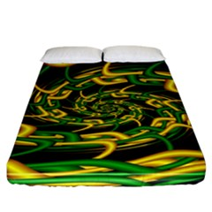 Green Yellow Fractal Vortex In 3d Glass Fitted Sheet (california King Size)