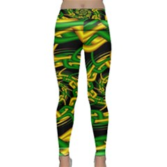 Green Yellow Fractal Vortex In 3d Glass Classic Yoga Leggings