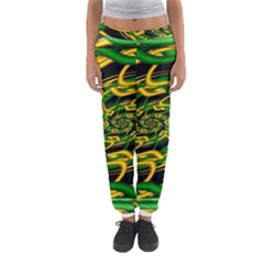 Green Yellow Fractal Vortex In 3d Glass Women s Jogger Sweatpants