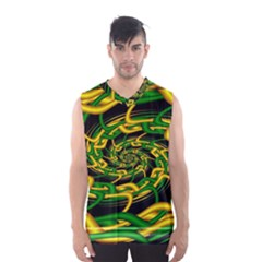 Green Yellow Fractal Vortex In 3d Glass Men s Basketball Tank Top
