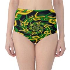 Green Yellow Fractal Vortex In 3d Glass High Waist Bikini Bottoms