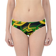 Green Yellow Fractal Vortex In 3d Glass Hipster Bikini Bottoms