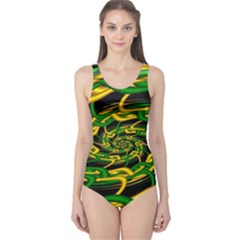 Green Yellow Fractal Vortex In 3d Glass One Piece Swimsuit