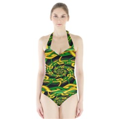Green Yellow Fractal Vortex In 3d Glass Halter Swimsuit