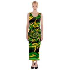 Green Yellow Fractal Vortex In 3d Glass Fitted Maxi Dress