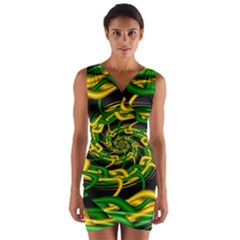 Green Yellow Fractal Vortex In 3d Glass Wrap Front Bodycon Dress