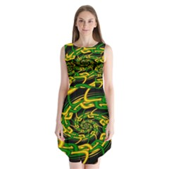 Green Yellow Fractal Vortex In 3d Glass Sleeveless Chiffon Dress