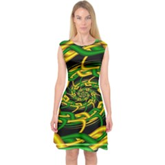 Green Yellow Fractal Vortex In 3d Glass Capsleeve Midi Dress