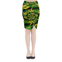 Green Yellow Fractal Vortex In 3d Glass Midi Wrap Pencil Skirt