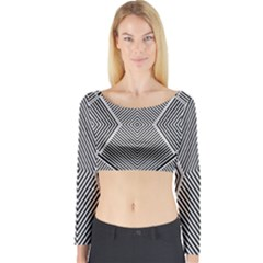 Black And White Line Abstract Long Sleeve Crop Top