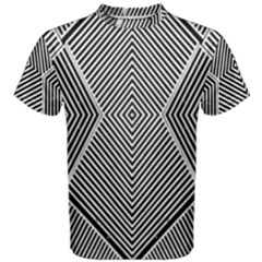 Black And White Line Abstract Men s Cotton Tee