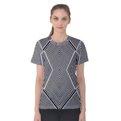 Black And White Line Abstract Women s Cotton Tee