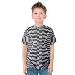 Black And White Line Abstract Kids  Cotton Tee