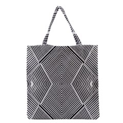 Black And White Line Abstract Grocery Tote Bag