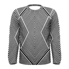 Black And White Line Abstract Men s Long Sleeve Tee