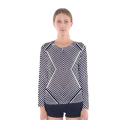 Black And White Line Abstract Women s Long Sleeve Tee