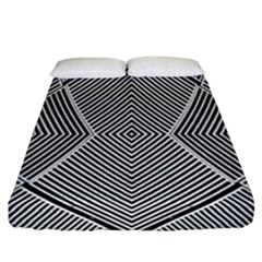 Black And White Line Abstract Fitted Sheet (california King Size)