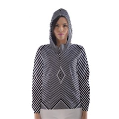 Black And White Line Abstract Hooded Wind Breaker (Women)