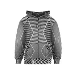 Black And White Line Abstract Kids  Zipper Hoodie