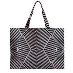 Black And White Line Abstract Zipper Mini Tote Bag